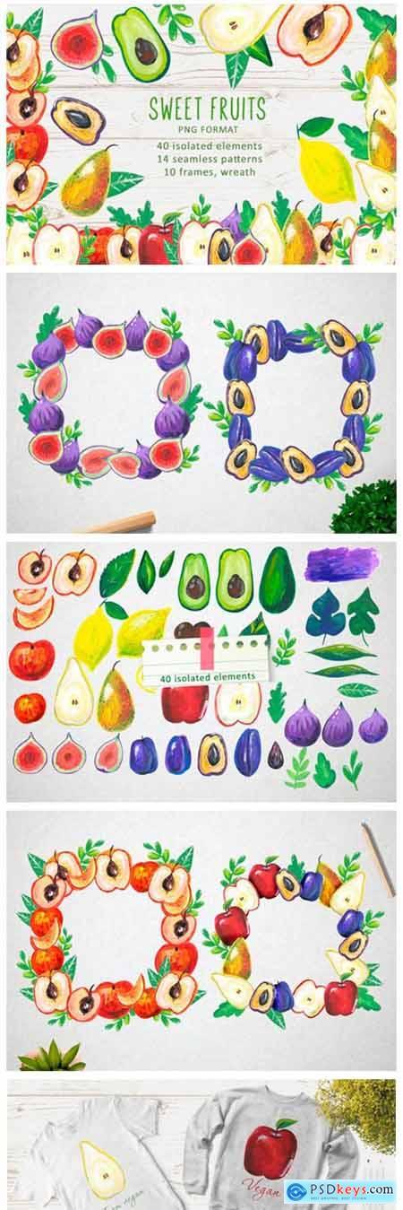 Watercolor Sweet Fruits 2969360
