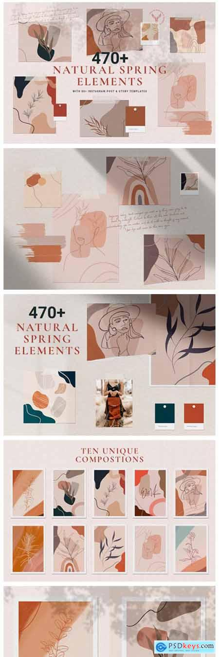 Natural Spring Graphics & Insta Elements 2975454