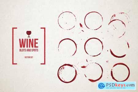 Red Wine Stains Vector Set