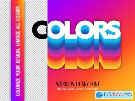 Retro Colors Text Effect Mockup 324047048