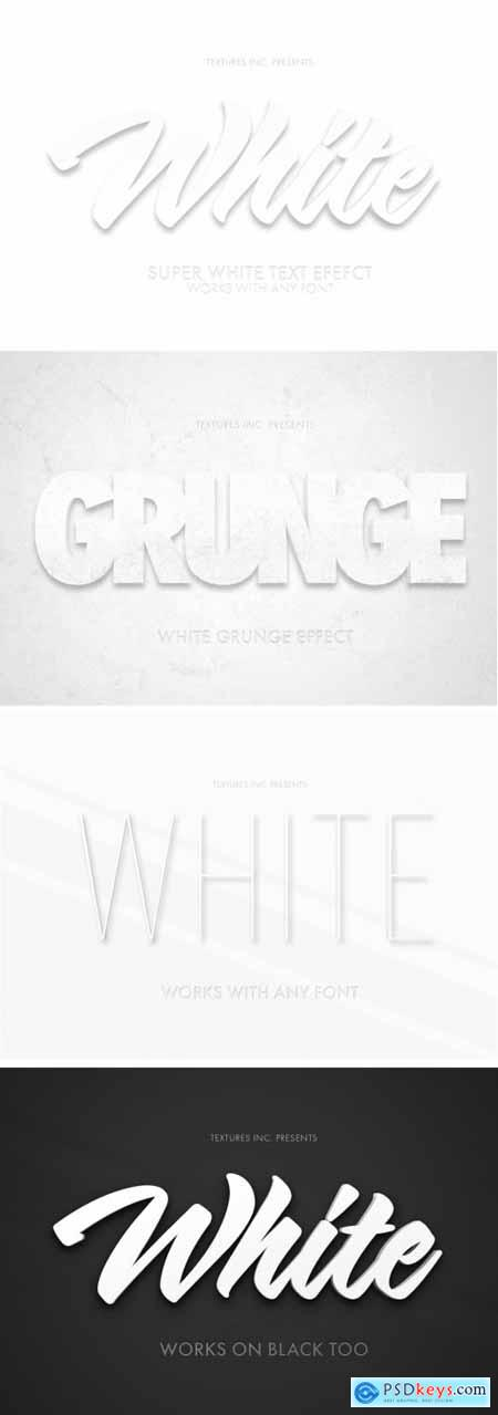 White 3D Text Effect Mockup Bundle 324047134