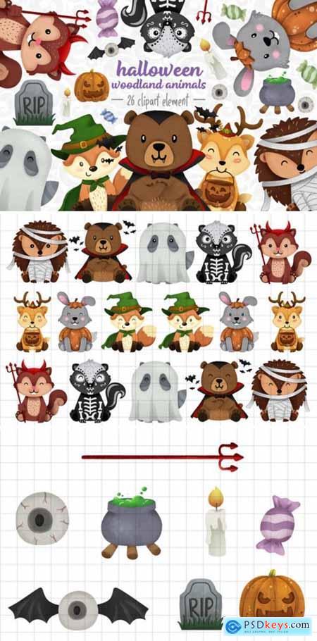 Halloween Woodland Animals Clipart Set 1 2999798