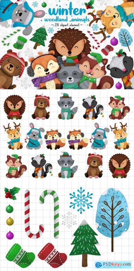 Winter Woodland Animals Clipart Set 1 2999803