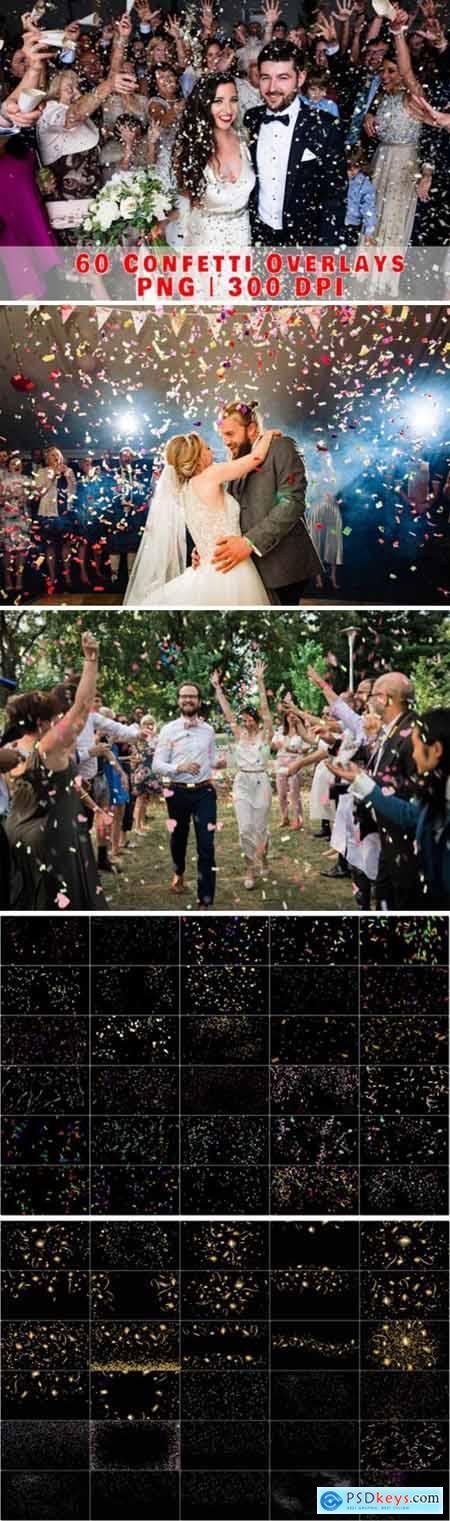 60 Falling Confetti Overlays, Birthday 2998864