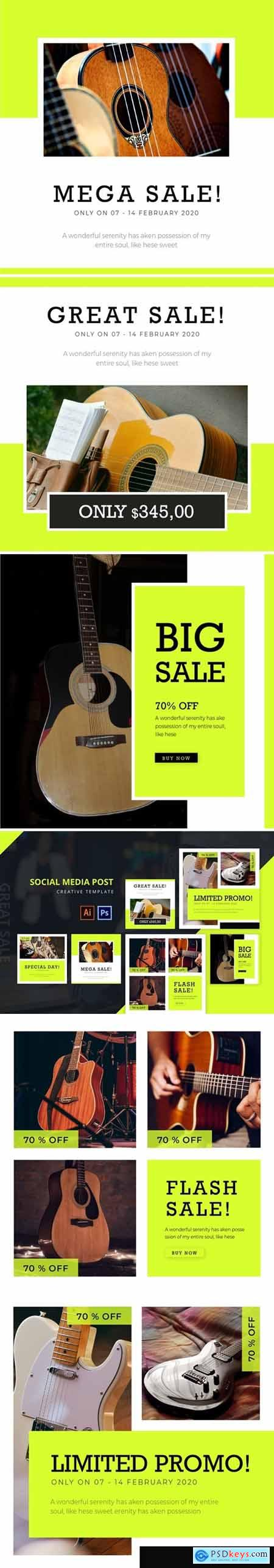Guitar Sale Social Media Post Template