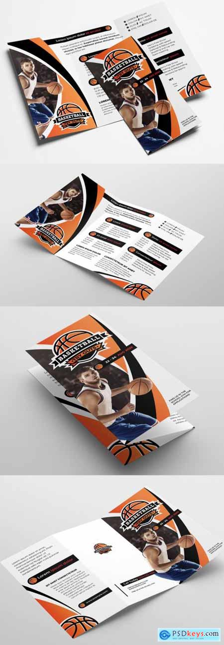 Trifold Brochure Layout with Basketball Illustrations 324361260