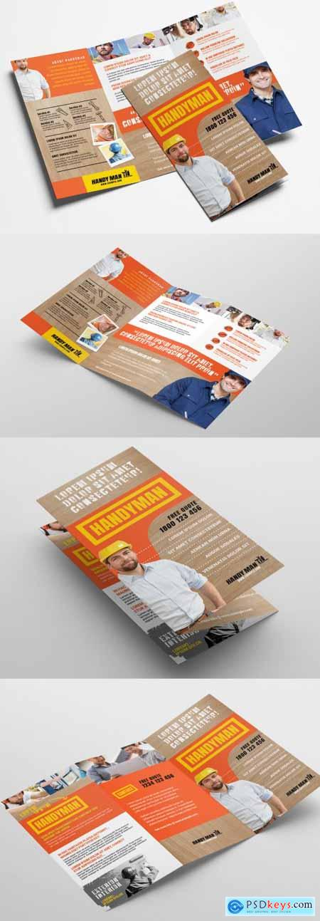 Trifold Brochure Layout with Wooden Texture Elements 324361327