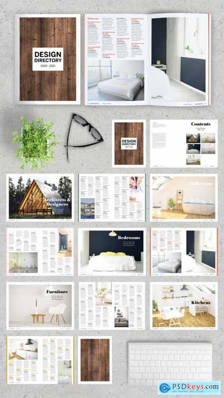 Brochure Layout with Blue and Orange Accents 324624399