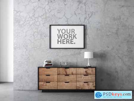 Horizontal Black Poster Frame Mockup on Wall 324647503