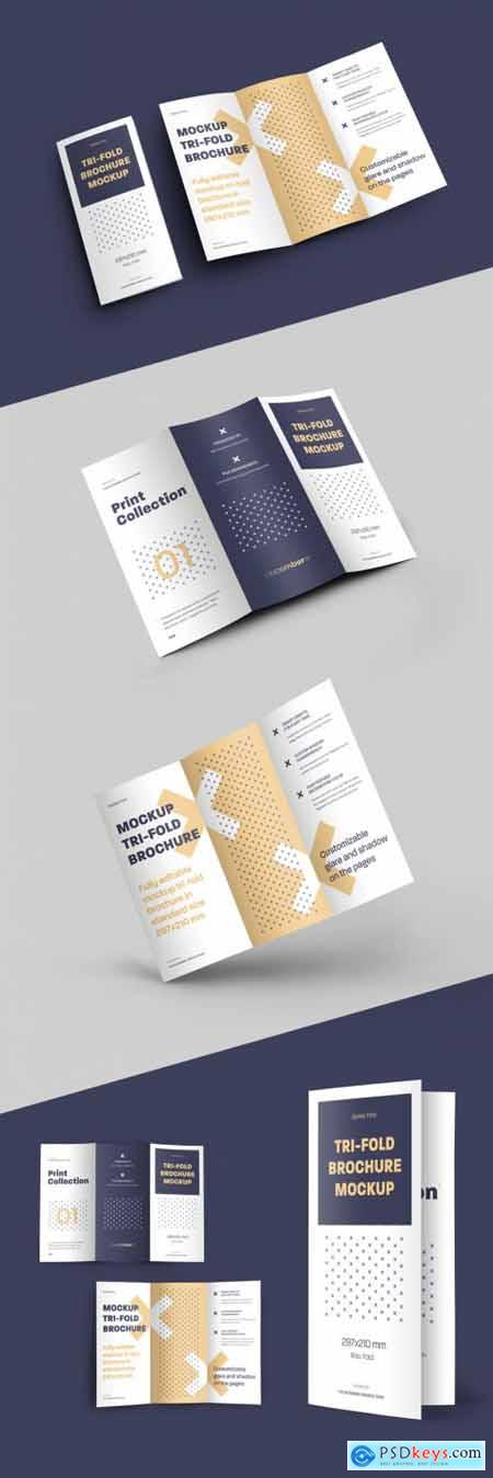 4 Mockup Set of Tri Fold Roll Brochures 318986898