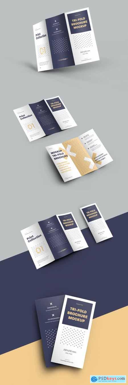 4 Mockup Set of Tri Fold Roll Brochures 318986644
