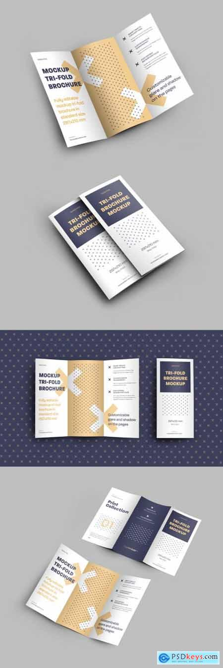 4 Mockup Set of Tri Fold Roll Brochures 318986632