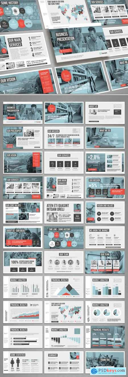 White and Pale Blue with Coral Accents Pitch Deck Layout 322330571