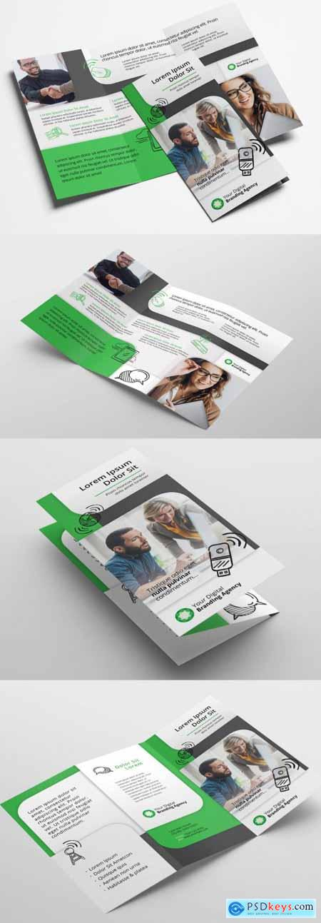 Trifold Brochure Layout with Green Accents 322351654