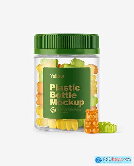 Plastic Bottle with Gummies Mockup 55928