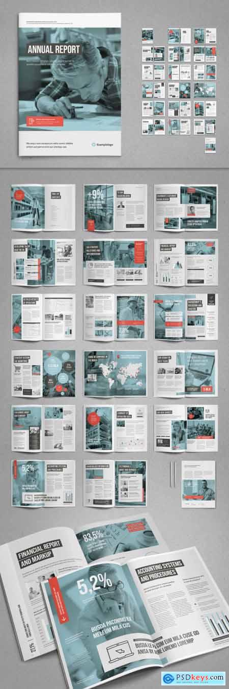 White and Pale Blue with Coral Accents Annual Report Layout 322334658