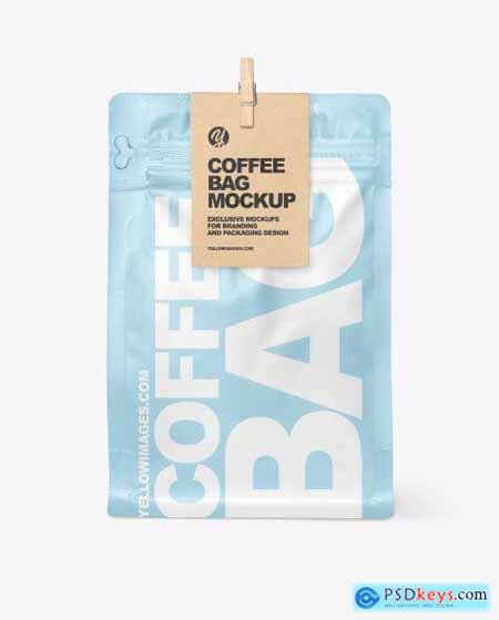 Matte Coffee Bag With Clip Mockup 55956