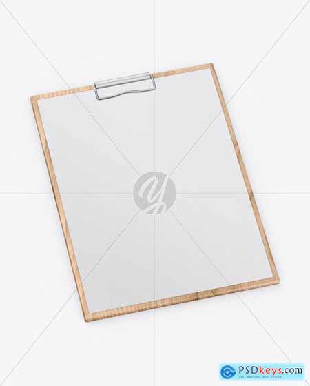 Wooden Clipboard W- A4 Paper Mockup 56049
