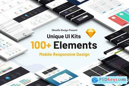 UI Kits Creative Agency & Mobile Responsive Sketch