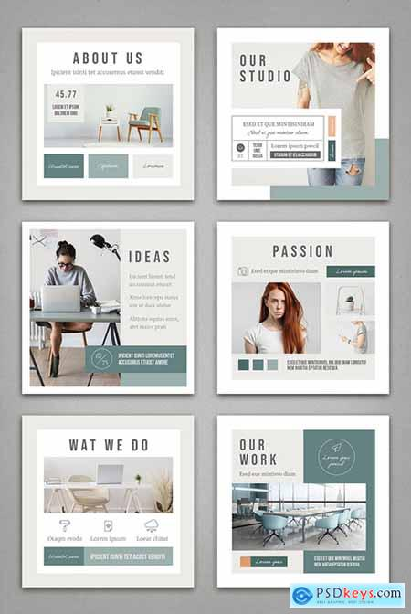 Mint and White Social Media Post Layout with Pale Peach Accents 324951970
