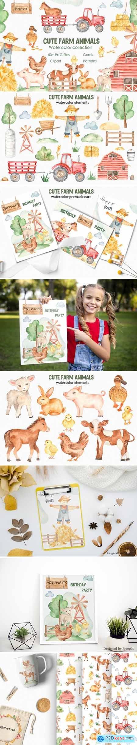 Watercolor cute farm animals Collection clipart