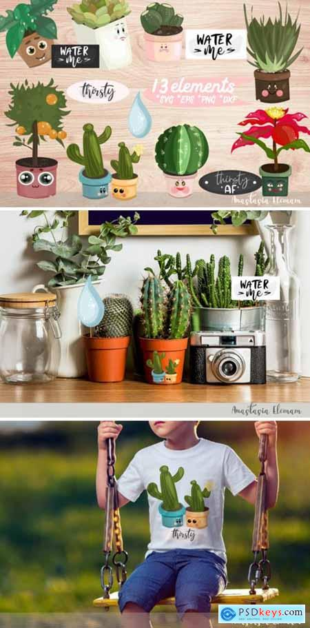 Vector Clipart Set WaterMe Potted Plants 3038809