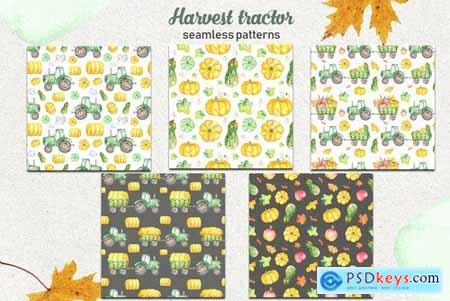 Watercolor harvest tractor Clipart, cards, pattern