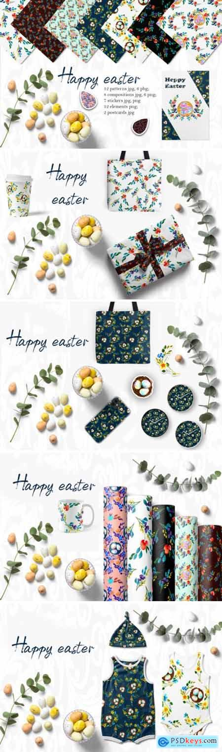 Watercolor Set Happy Easter 3038863