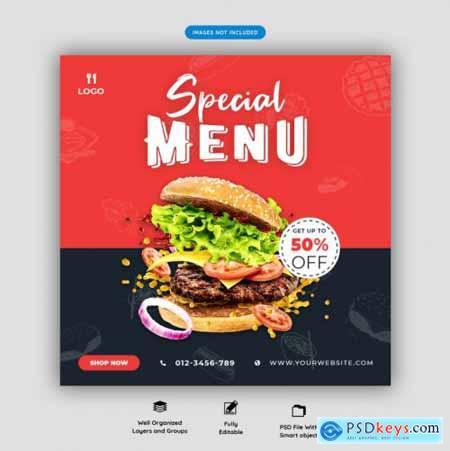 Food menu and restaurant social media banner template vol.3