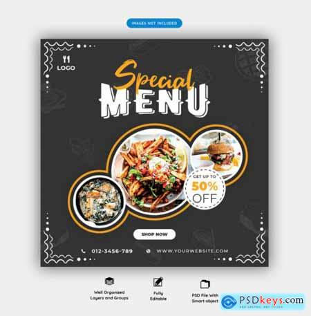 Food menu and restaurant social media banner template vol.4