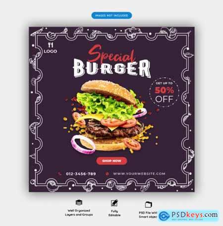 Food menu and restaurant social media banner template vol.2