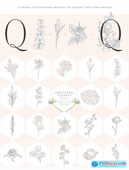Floral Flexible Illustrator Brushes