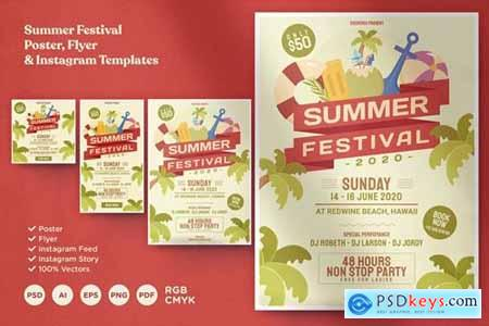 Summer Festival Poster Flyer & Instagram Template