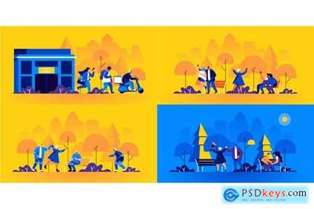 Flat People Scene Situation Landing Page
