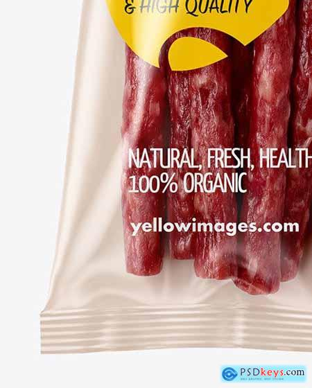 Plastic Bag With Meat Sticks Mockup 56427
