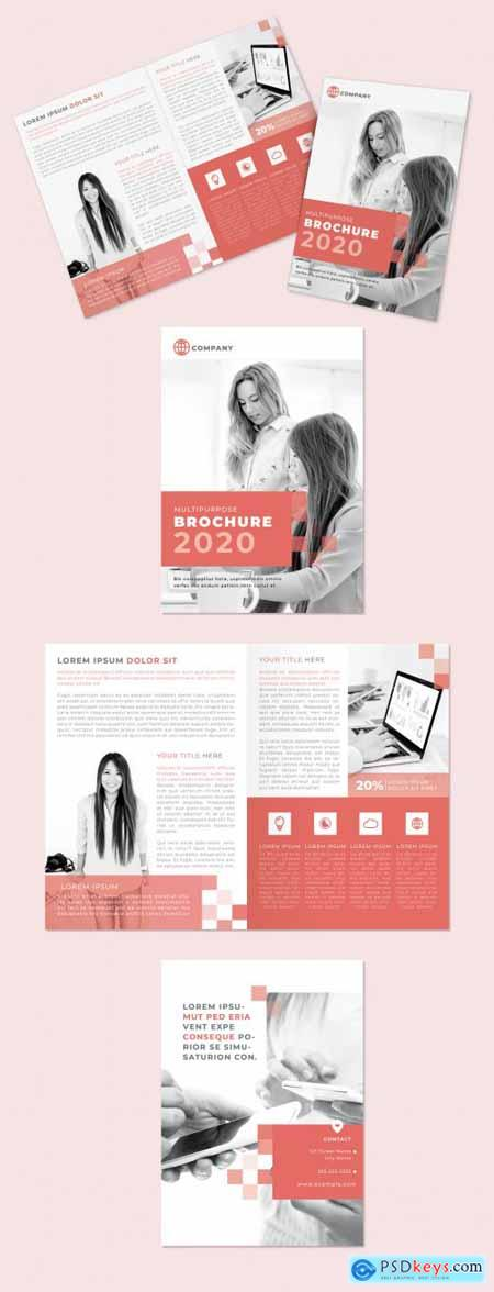 Multipurpose Red Squares Style Bifold Brochure Layout 328123518