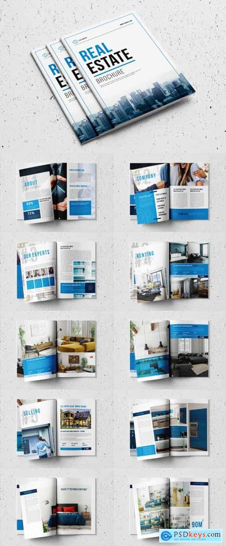 Real Estate Brochure Layout with Blue Accents 327918245