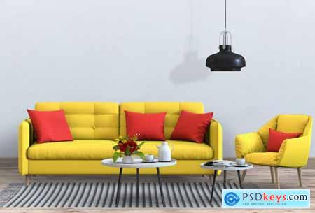 Living room interior in modern style with sofa and decoration