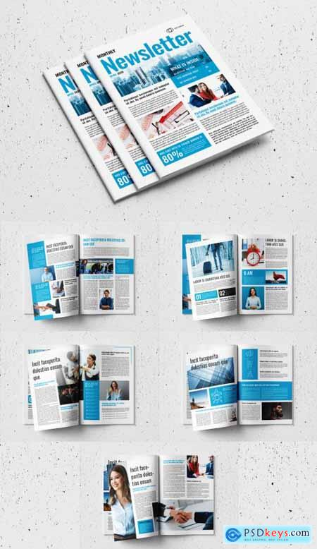 Business Newsletter Layout with Blue Accents 327918134