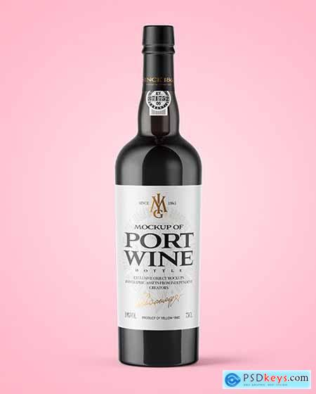 Green Glass Port Wine Bottle Mockup 56455