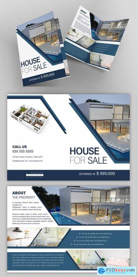 Real Estate Bifold Flyer Layout with Blue Accents 265678492