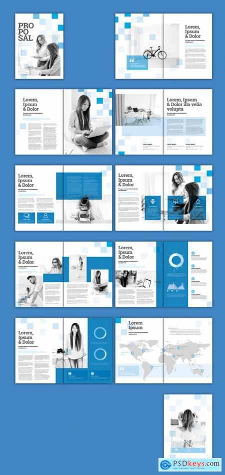Multipurpose Brochure Layout with Blue Squares 328123449