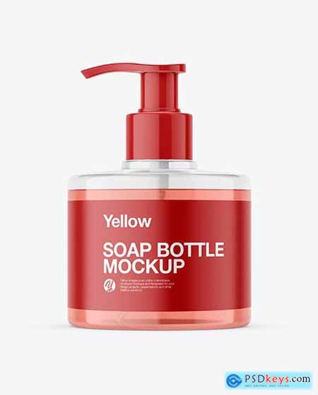Soap Bottle with Pump Mockup 55414