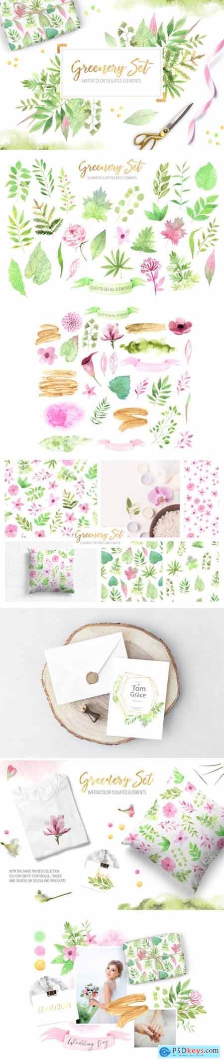 Watercolor Greenery Floral Set 3540132