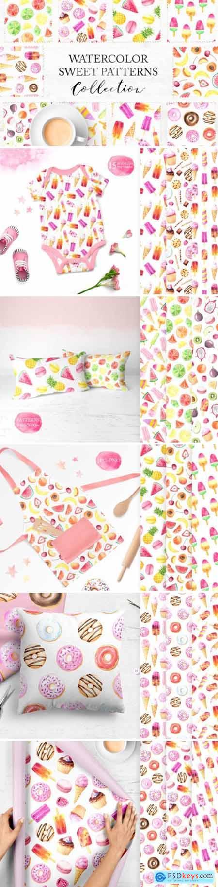 15 Watercolor Sweet Seamless Pattern 3551640