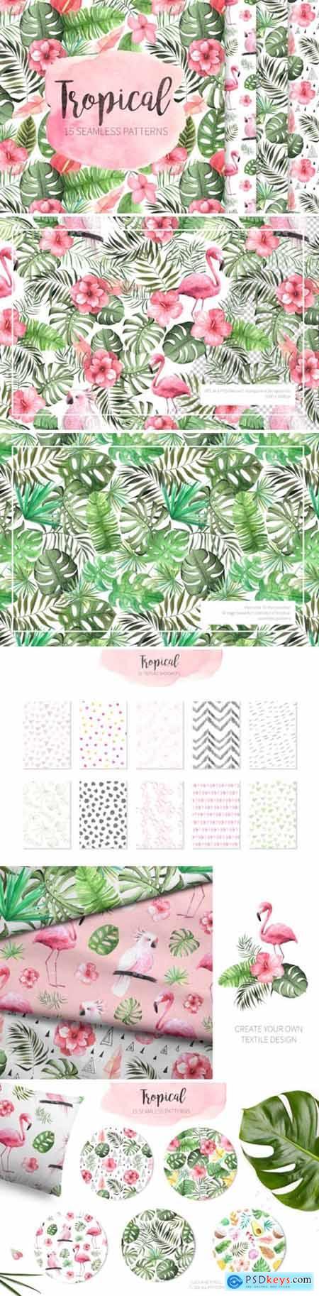 15 Watercolor Tropical Patterns Set 3527787