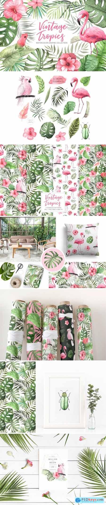 Watercolor Vintage Tropical Set 3524539