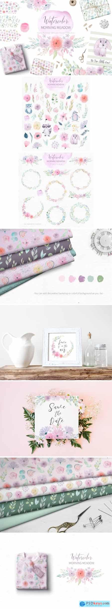 Watercolor Morning Meadow Floral Set 3515004