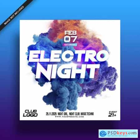 Electro night music festival flyer poster