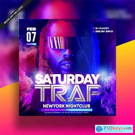 Saturday trap dj music night club flyer